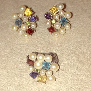 Jewelry - Multi gem and pearl earrings and ring set